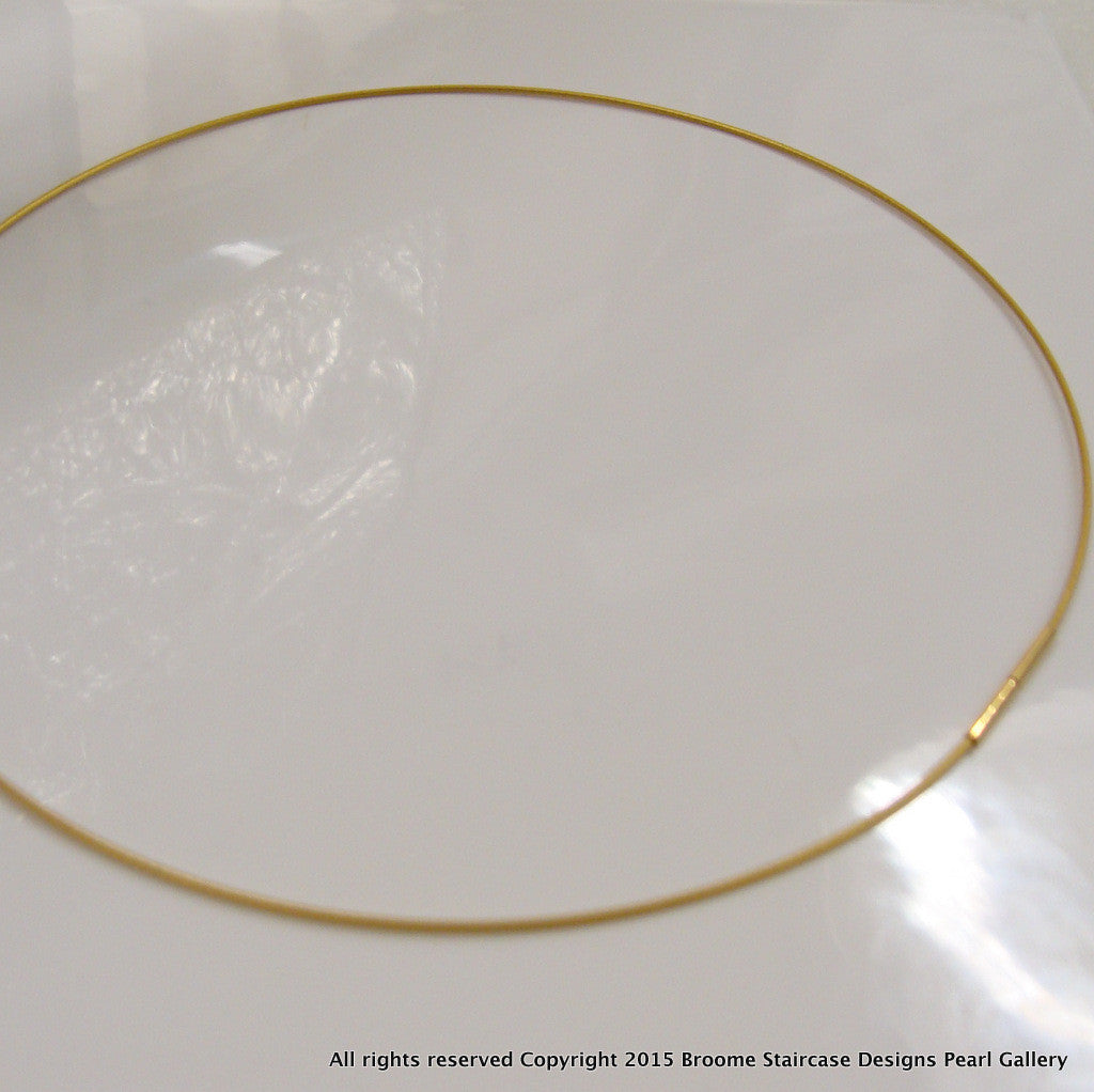 Gold Wire Necklace 1mm Single Strand - Broome Staircase Designs Pearl Gallery - 2