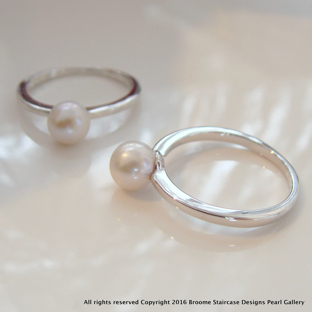 Dainty Cultured Freshwater Pearl Ring Sterling Silver