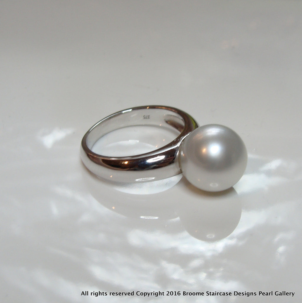 9ct White Gold Australian South Sea Pearl Ring - Broome Staircase Designs Pearl Gallery - 1