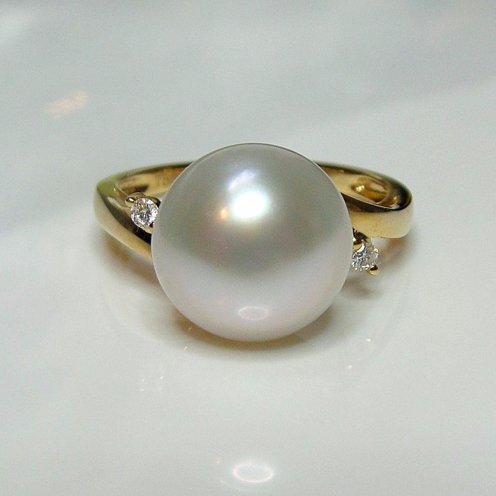 Australian South Sea Pearl and Diamond Ring 18cty - Broome Staircase Designs Pearl Gallery - 1