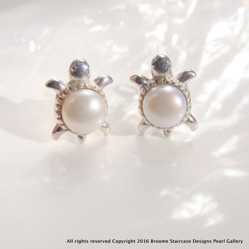 Cultured Pearl Turtle Earrings - Broome Staircase Designs Pearl Gallery