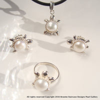 Cultured Pearl Turtle Pendant, Ring & Earring Set **Free Neoprene Necklace! - Broome Staircase Designs Pearl Gallery - 1