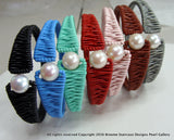 Hand Made Cultured Pearl leather Bangle - Broome Staircase Designs Pearl Gallery - 1