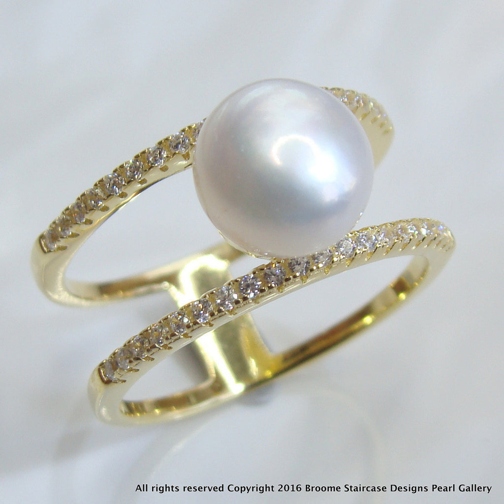 Cultured Pearl Ring Gold - Broome Staircase Designs Pearl Gallery