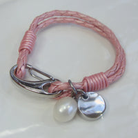 Girls Cultured Pearl and Charm Pink Leather Bracelet