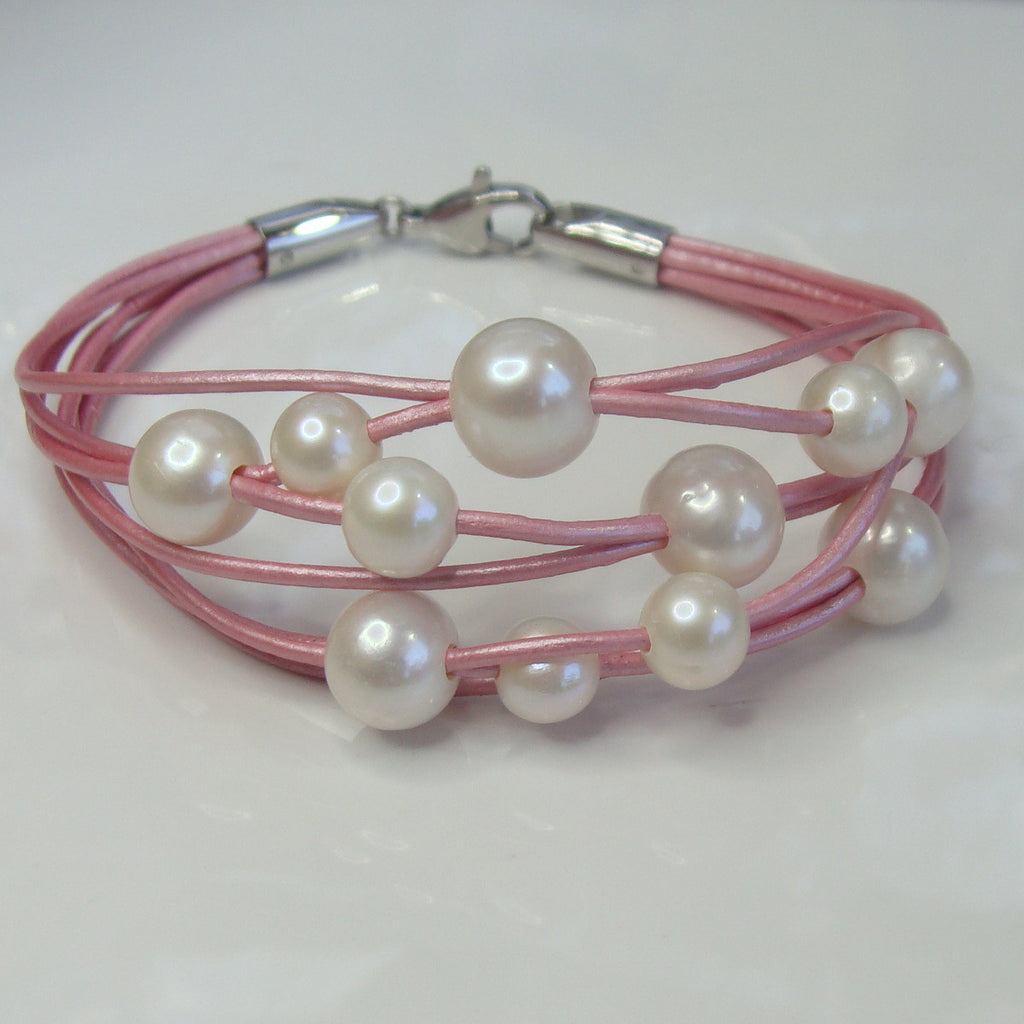 Cultured Pearl Pink Leather Bracelet