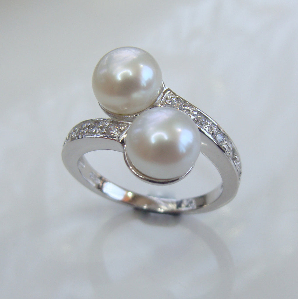 Cultured Pearl and Cubic Zirconia Ring Sterling Silver