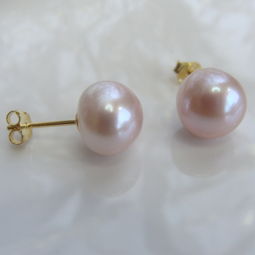 Cultured Pink Pearl Gold Stud Earrings gold