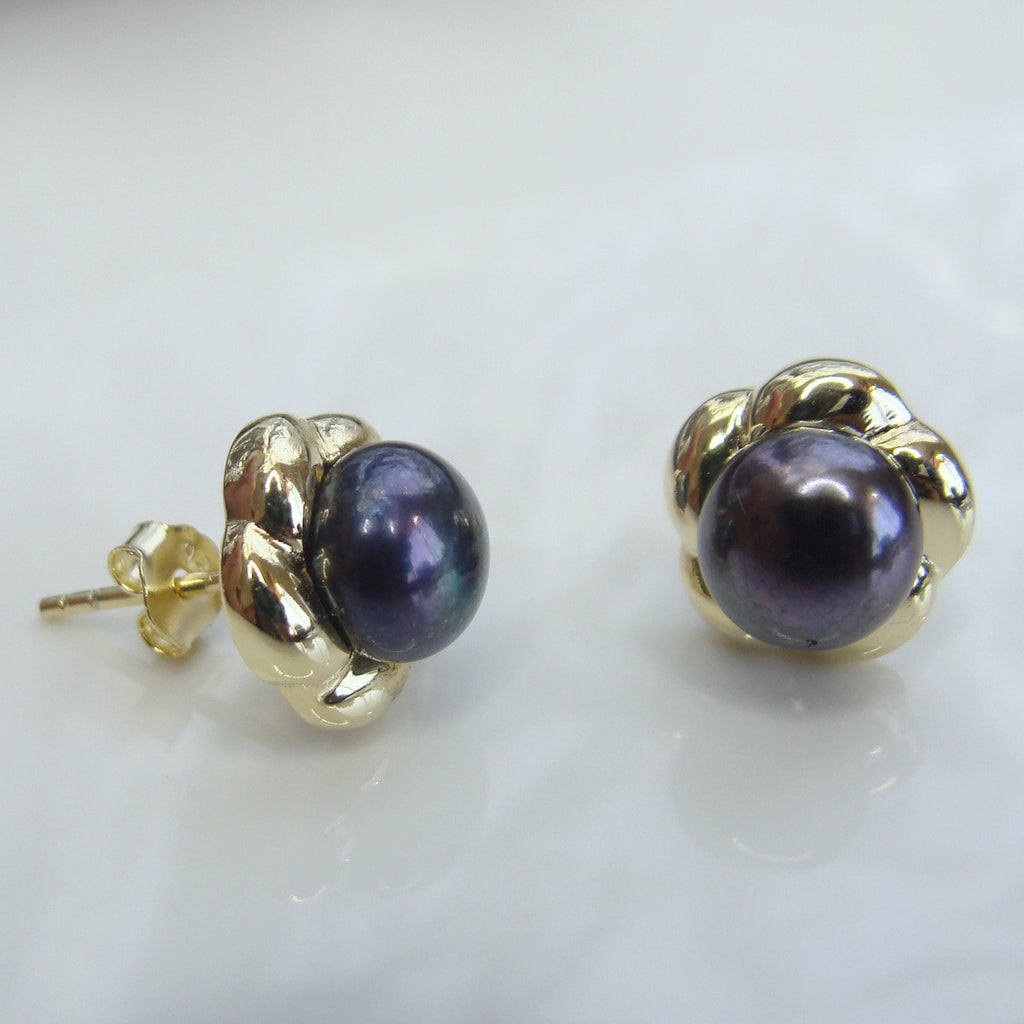 Cultured Freshwater Peacock Black Pearl Studs - Gold >> 50% OFF RIGHT NOW!!