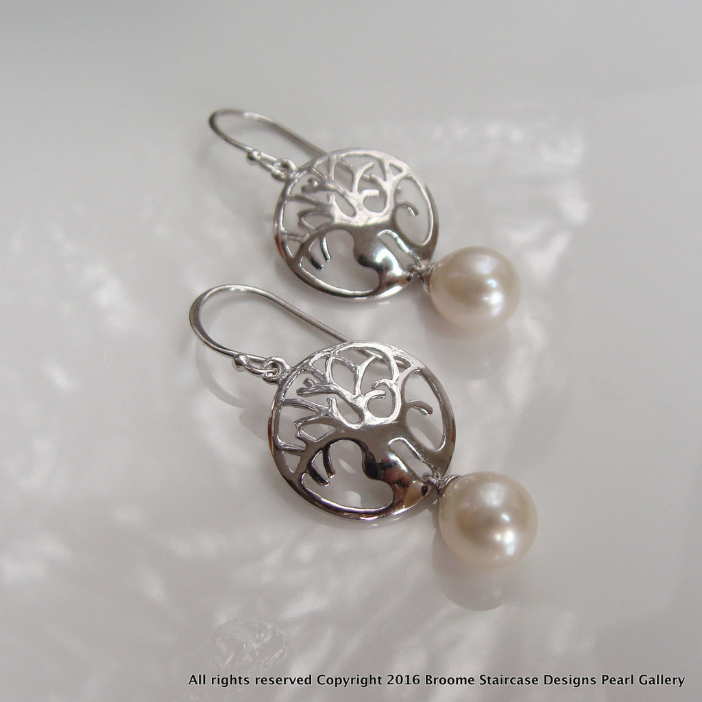 Cultured Freshwater Pearl Boab Tree Earrings Round Sterling Silver