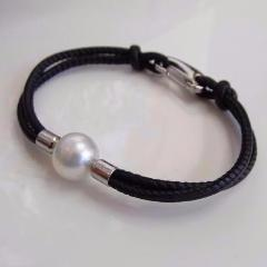 Cultured South Sea Pearl Leather Black Bracelet