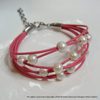 Gorgeous Girls Pretty Pink Pearl Multi Strand Bracelet