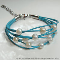 Girls Pretty Turquoise Pearl Bracelet