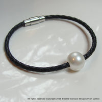 Cultured Freshwater Pearl Bracelet Black Plaited Leather