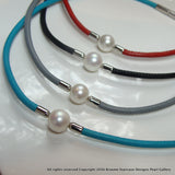 Freshwater Pearl Necklace Leather- Great for Summer!