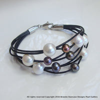 Cultured Pearl Leather Bracelet - White and Black Pearls