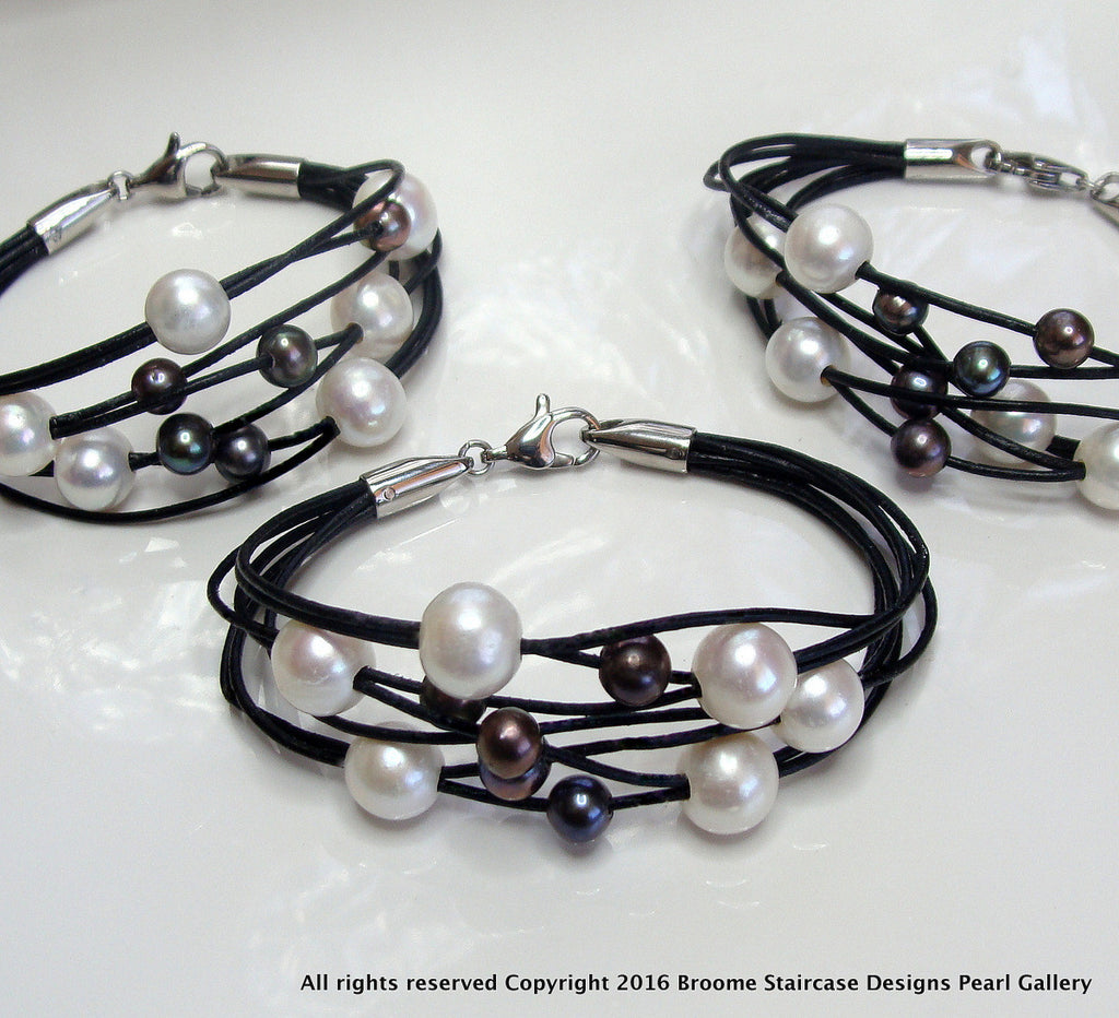 cultured pearl leather bracelet white and black pearls. Black Bedroom Furniture Sets. Home Design Ideas