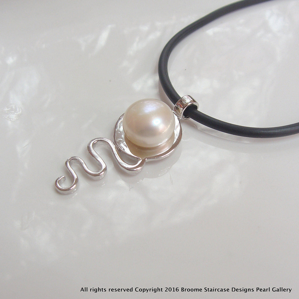Pearl Pendant Cable Beach Staircase to the Moon (V3) Sterling Silver