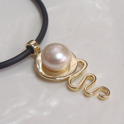 Pearl Pendant Cable Beach Staircase to the Moon V3 Gold