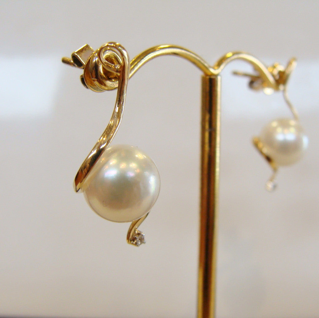 Australian South Sea Pearl and Diamond Gold Earrings