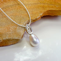 Cultured Freshwater 14mm Pearl Pendant Sterling Silver Swirl Bail