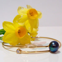 Cultured Pearl and CZ Bangle
