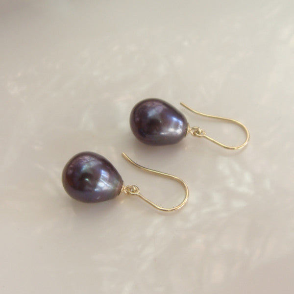 Cultured Freshwater Pearl 9cty Gold Peacock/ Black Earrings
