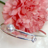 Cultured Broome Pearl and CZ Bangle