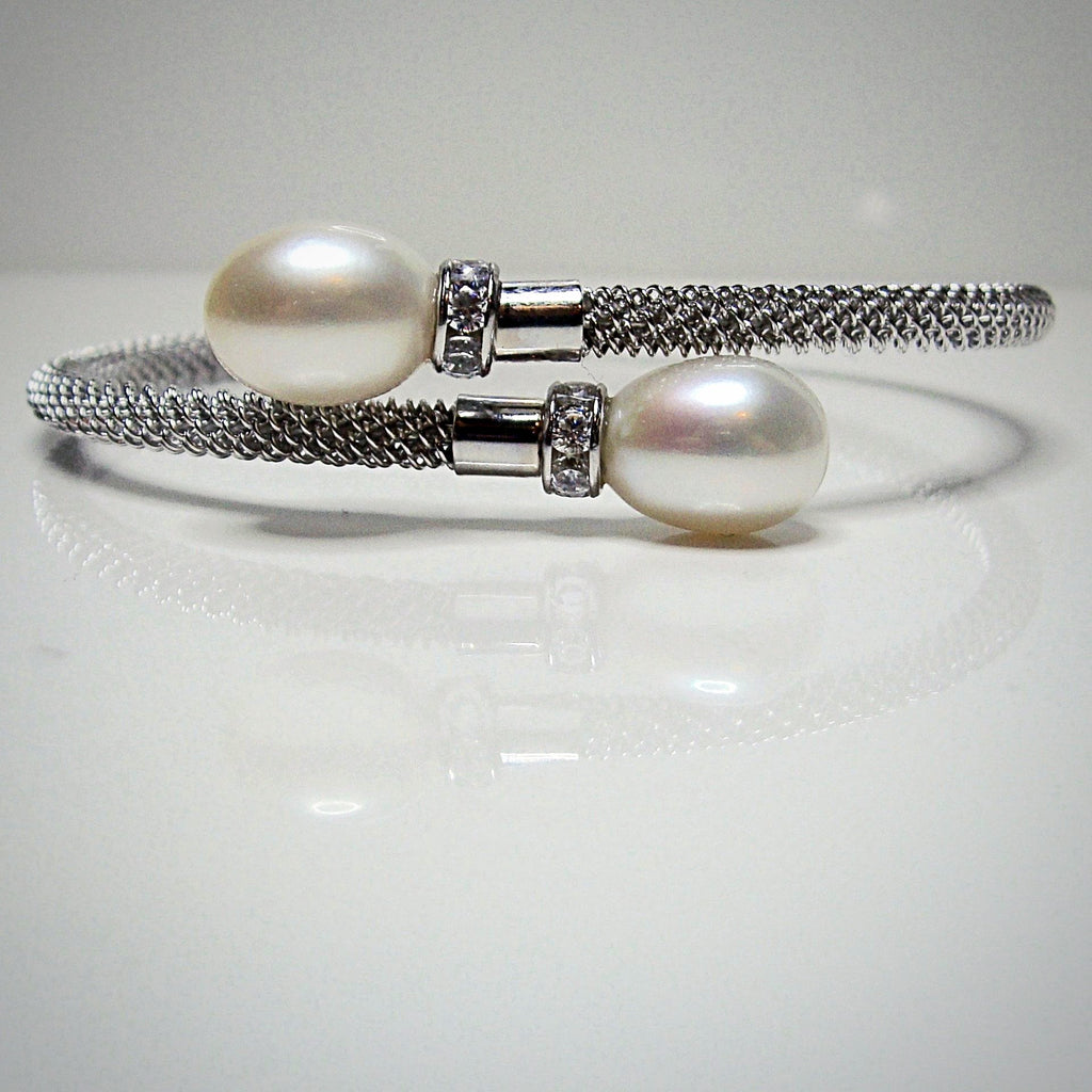 Cultured Pearl and CZ Mesh Bracelet