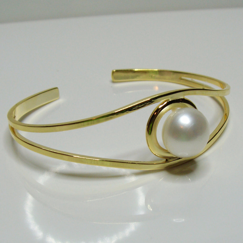 Cultured Pearl Sterling Silver Bangle