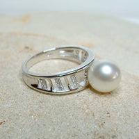 Cultured Broome Pearl and CZ Staircase Ring