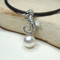 Cultured Freshwater Pearl Sterling Silver Seahorse Pendant