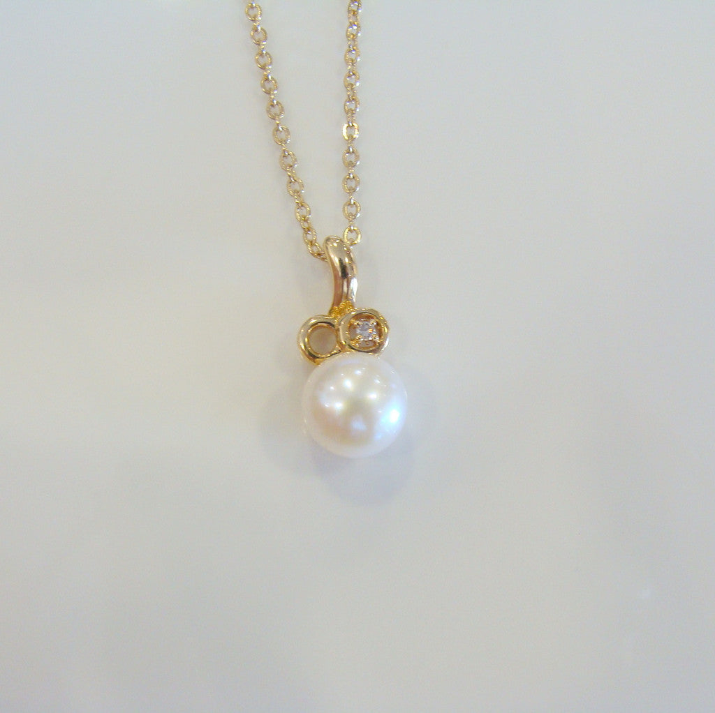 Freshwater Pearl & Diamond Pendant - Broome Staircase Designs Pearl Gallery - 1