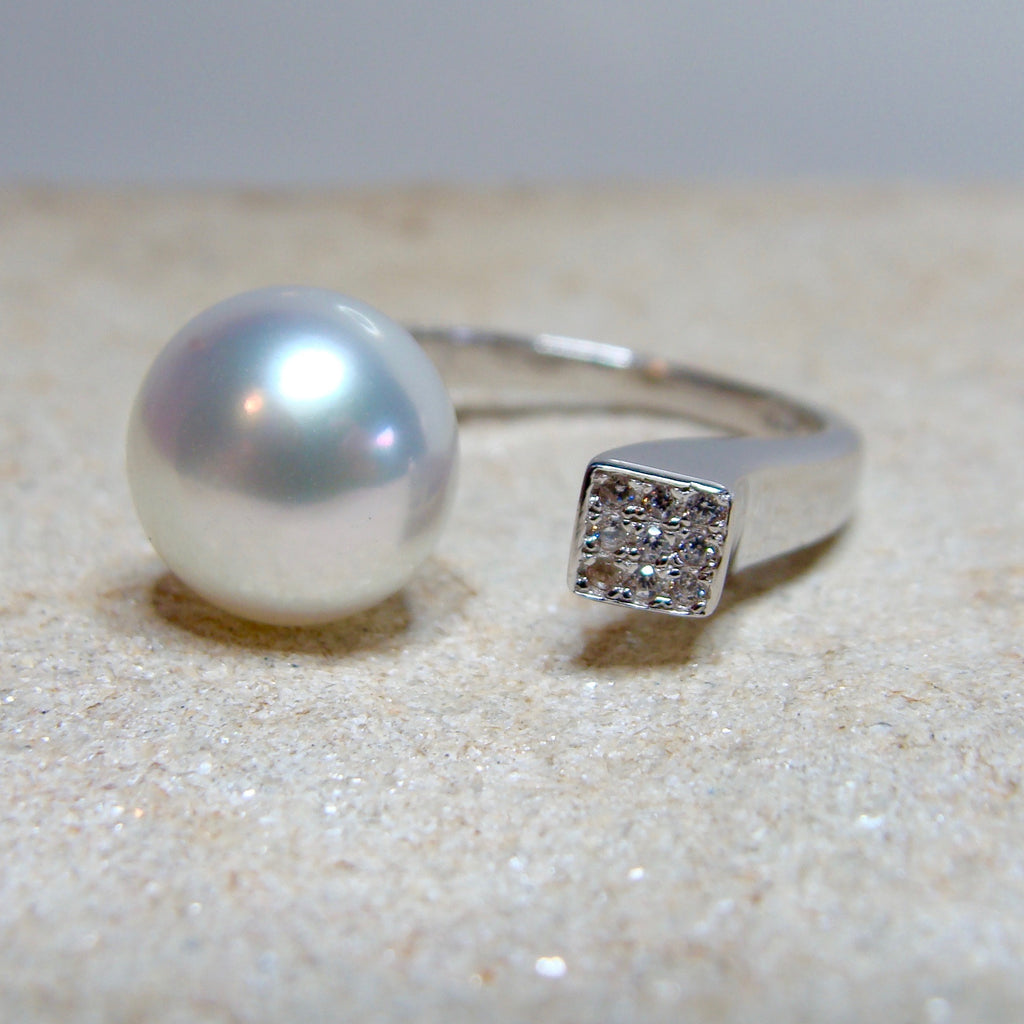 Broome Pearl and CZ Ring