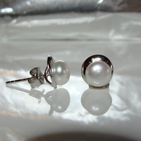 Cultured Freshwater Petite White Pearl Studs Sterling Silver