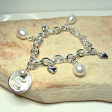 Sterling Silver Staircase Pearl Charm Bracelet