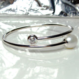 Cultured Freshwater Pearl and CZ Bangle