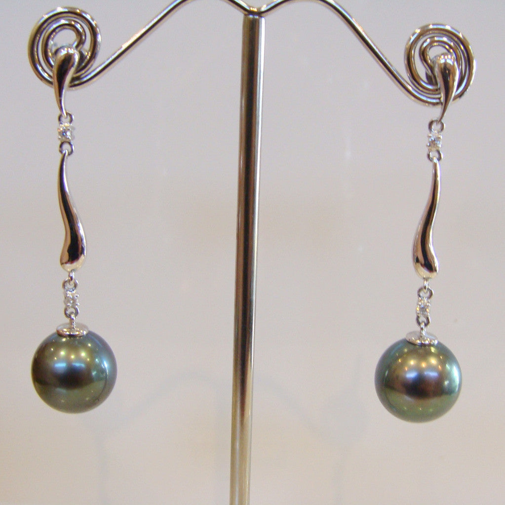 Tahitian and Diamond Pearl Earrings - Broome Staircase Designs Pearl Gallery - 1