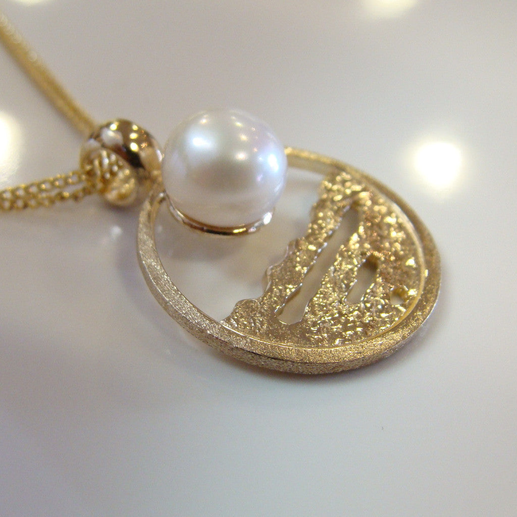 Broome Pearl Barred Creek Staircase Pendant 18ct Gold