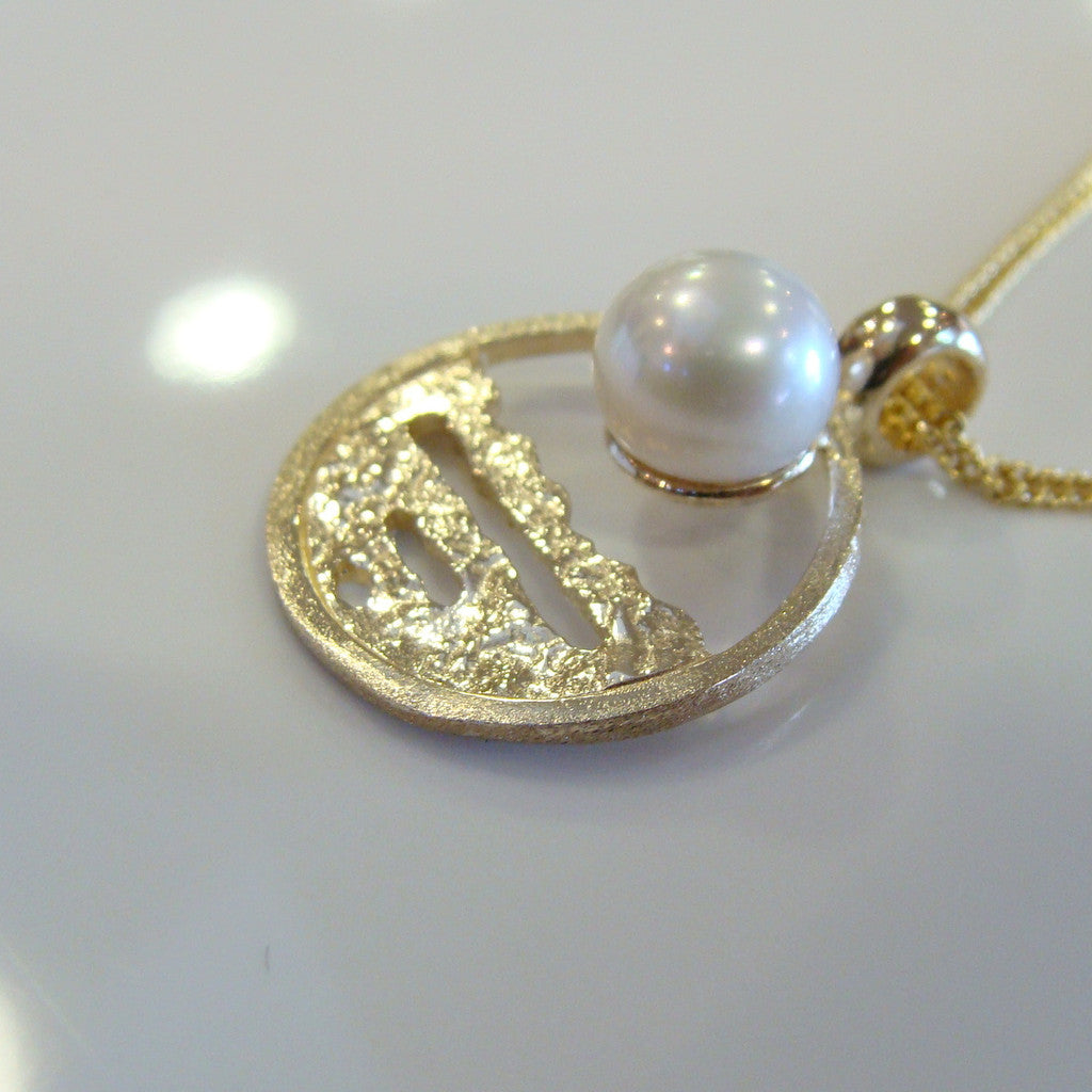 Broome Pearl Barred Creek Staircase Pendant 9ct Gold