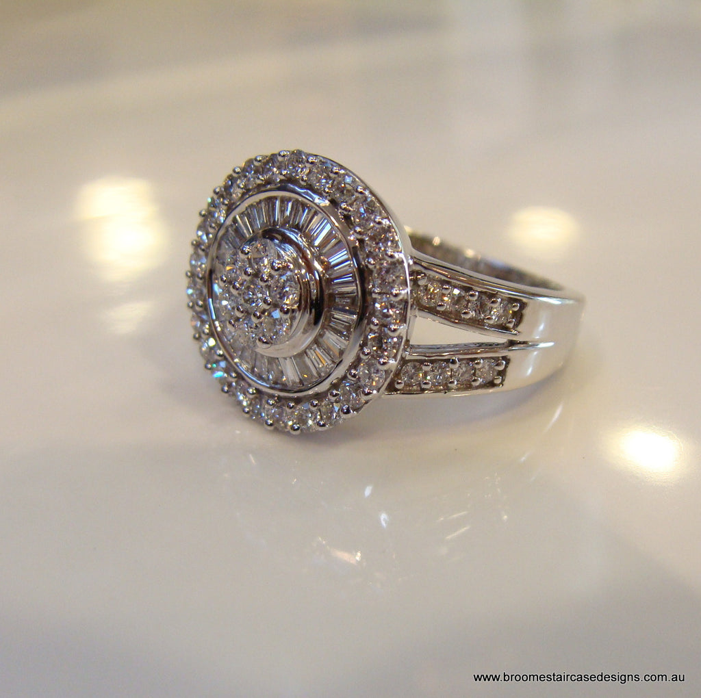 Diamond Engagement Ring 18ct White Gold - Broome Staircase Designs Pearl Gallery - 1