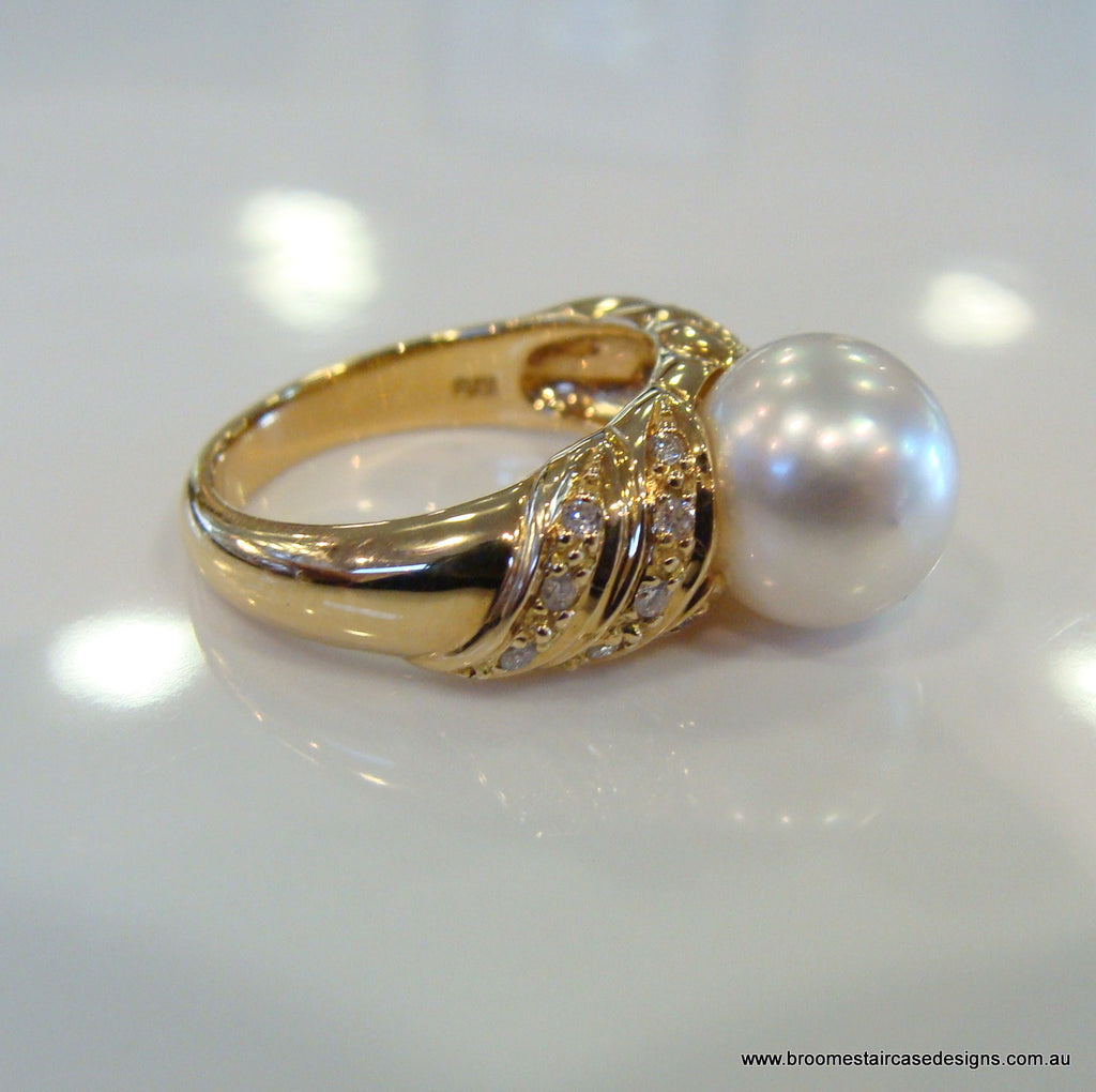 Pearl and Diamond Engagement Ring 18ct Yellow gold - Broome Staircase Designs Pearl Gallery - 1