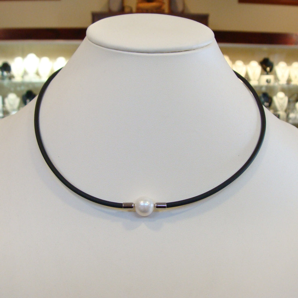 Cultured Freshwater Pearl Necklace on Neoprene