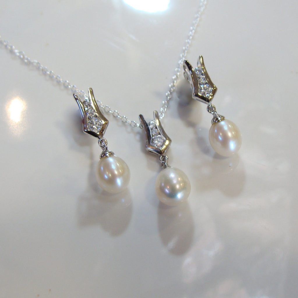Freshwater Pearl & Cubic Zirconia Pendant & Earring Set - Broome Staircase Designs Pearl Gallery