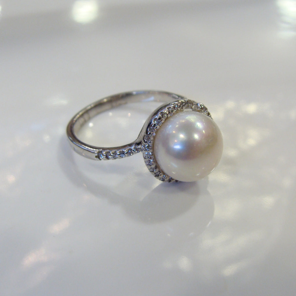Freshwater Pearl & Cubic Zirconia Ring - Broome Staircase Designs Pearl Gallery