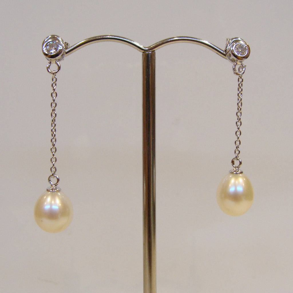 Freshwater Pearl & Cubic Zirconia Earrings - Broome Staircase Designs Pearl Gallery