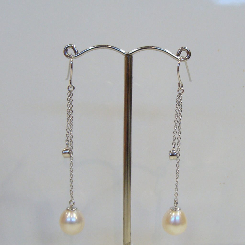 Freshwater Pearl & Cubic Zirconia Earrings - Broome Staircase Designs Pearl Gallery - 1