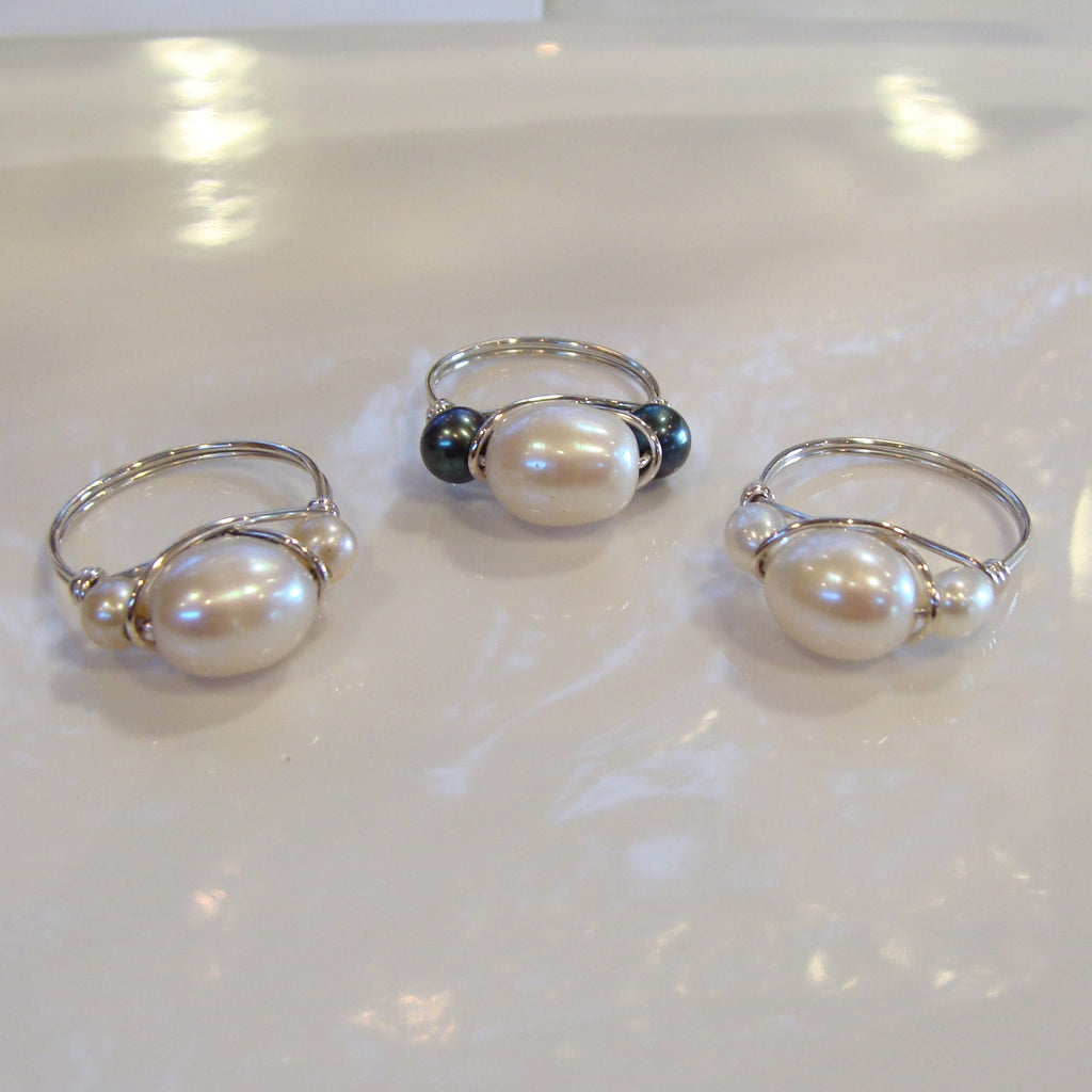 Freshwater Pearl Ring - White (see links below for Black and Pink Pearl Rings) - Broome Staircase Designs Pearl Gallery