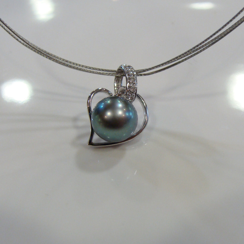 Tahitian Pearl & Diamond Heart Pendant - Broome Staircase Designs Pearl Gallery