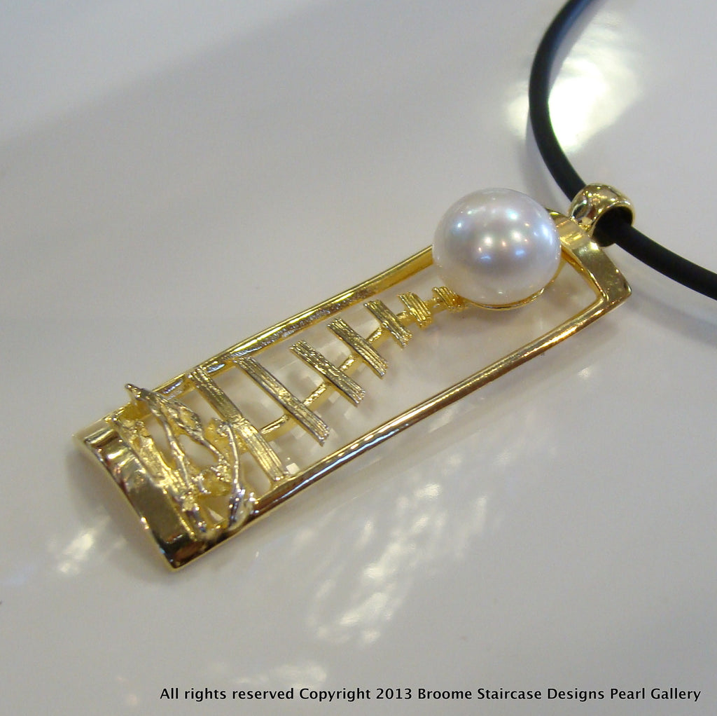 Pearl Pendant Pendant Kimberley Staircase to the Moon (white/e/p)**FREE NEOPRENE NECKLACE! - Broome Staircase Designs Pearl Gallery